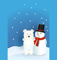 bear wearing red hat with snowman wearing red vector image