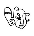 black ink modern abstract face portrait linear vector image
