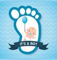 boy balloon footprint greeting card bashower vector image vector image