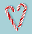 bright poster with candy cane heart vector image vector image