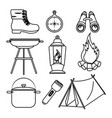 camping outdoor adventure icon set vector image