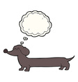 cartoon dachshund with thought bubble vector image vector image