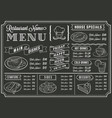 chalkboard restaurant menu template vector image vector image