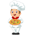 Chef holding pizza vector image vector image