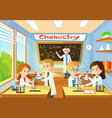 chemistry classroom with students and teacher vector image