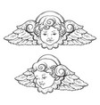 cherub cute curly smiling baby boy angel set vector image