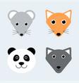 cute animals cartoon animal faces mouse fox vector image