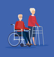disabled old woman and man design vector image
