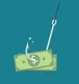fishhook with money vector image vector image