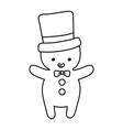 gingerbread man with hat decoration merry vector image vector image