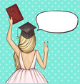 graduate girl in graduation cap with diploma vector image vector image