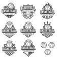 greyscale basketball logos vector image