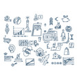 hand drawn business planning symbols doodle vector image