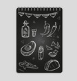 hand drawn mexican food and drinks set vector image vector image
