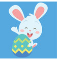 happy bunny with easter egg vector image