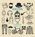 hipster style elements set of male character hand vector image