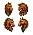Horse head in fire shape heraldic icons vector image vector image