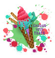 ice cream cone colorful dessert icon choose your vector image