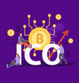 ico cryptocurrency flat composition vector image vector image