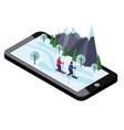 isometric man and woman skiing mobile navigation vector image vector image