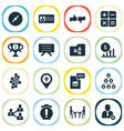 job icons set with warning alarm profit planning vector image vector image