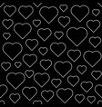 line art hearts seamless pattern vector image