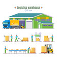 logistic warehouse elements collection vector image vector image