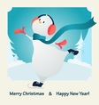 merry christmas happy snowman vector image vector image