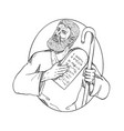 moses with ten commandments drawing black and vector image