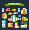 multicolored icons with tape on topic building vector image vector image