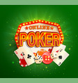online poker banner in vintage light frame vector image