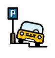 passenger car parked at street side parking place vector image vector image