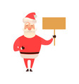 santa claus laughing holding an empty board sign vector image vector image