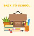 school bag icon and school supplies flat design vector image vector image