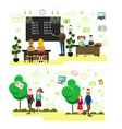school people concept in flat vector image vector image