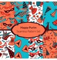 Seamless pattern set for Jewish holiday Purim vector image vector image
