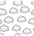 seamless pattern with cute black doodle clouds vector image