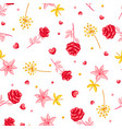 seamless pattern with romantic flowers valentine vector image vector image