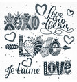 set of love quotes hand drawn lettering vector image vector image