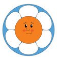 smiling flower on white background vector image vector image