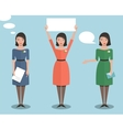 Standing Office Manager Woman Talking and Showing vector image