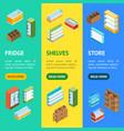supermarket elements banner vecrtical set vector image vector image