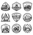 vintage agricultural machinery labels set vector image