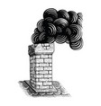 vintage chimney hand drawing engraving black and vector image
