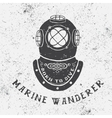 Vintage label with diving helmet vector image
