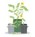 wasting money into bin vector image vector image