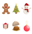 watercolor christmas elements collection isolated vector image