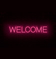 welcome red neon inscription vector image vector image