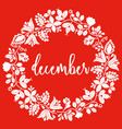 white december wreath on red background vector image vector image
