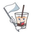 with flag white russian mascot cartoon vector image vector image